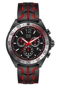 Cronografo orologio in acciaio grigio rosso su bianco.