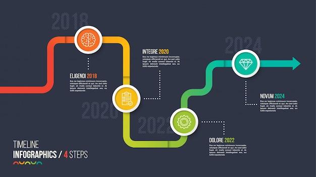 Cronologia a quattro passaggi o grafico infografica milestone.