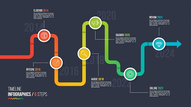 Cronologia a sei passaggi o grafico infografica milestone.