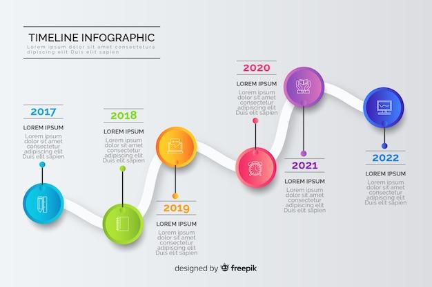 Cronologia annuale business creativo infografic