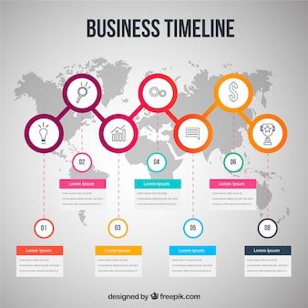 Cronologia aziendale colorato con design piatto