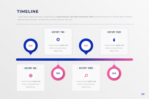 Cronologia di affari piatta infografica