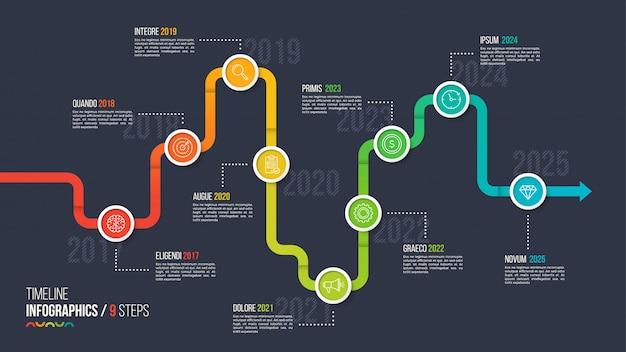 Cronologia di nove passaggi o grafico infografica milestone.