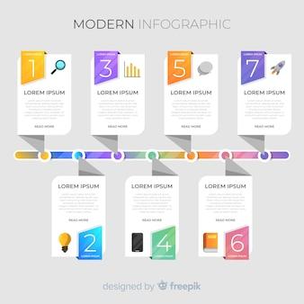 Cronologia infografica colorato