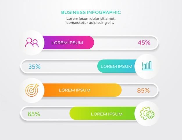 Cronologia infografica con 4 opzioni