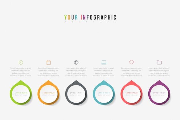 Cronologia infografica con 6 puntatori, passaggi o processi. modello di progettazione colorata.