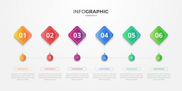 Cronologia infografica con icone e 6 opzioni o passaggi