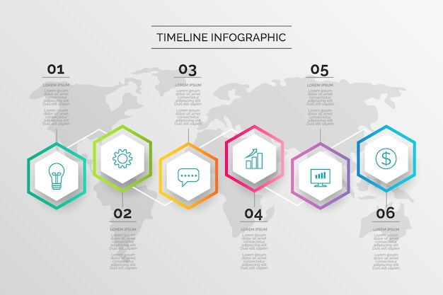 Cronologia infografica in design piatto
