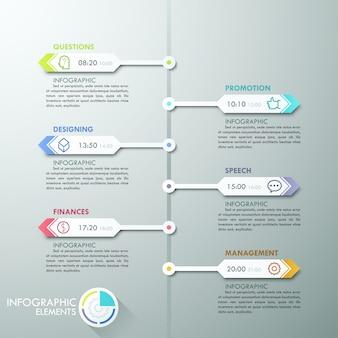 Cronologia infografica moderna con frecce di carta