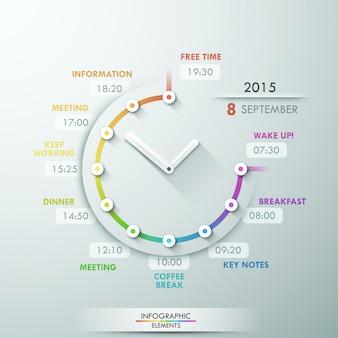 Cronologia infografica moderna con orologio creativo