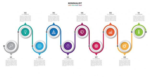 Cronologia infographic di affari astratti