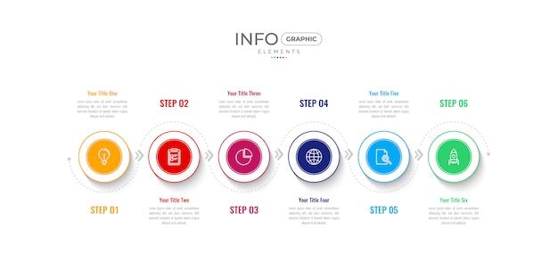 Cronologia multicolore infografica con icone e opzioni o passaggi