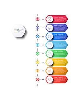 Cronologia verticale infografica con elementi esagonali su bianco