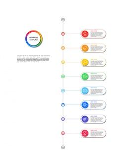 Cronologia verticale infografica con elementi rotondi su bianco