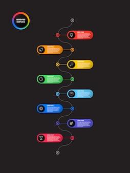 Cronologia verticale infografica con elementi rotondi su fondo nero