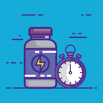 Cronometro con farmaci in bottiglia