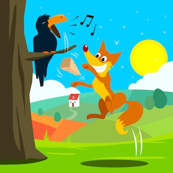 Crow and fox fabl