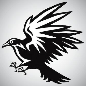 Crow crow logo in bianco e nero vettoriale