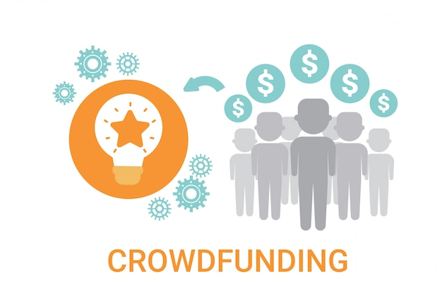 Crowdfunding crowdsourcing business resources idea sponsor icona di investimento