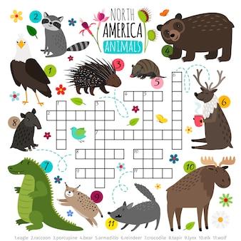 Cruciverba di animali. rompicapo di parole dei bambini con l'insieme dell'animale del nord america, gioco di puzzle di ricerca di parole