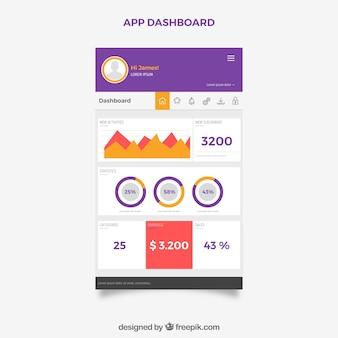 Cruscotto colorato app con design piatto