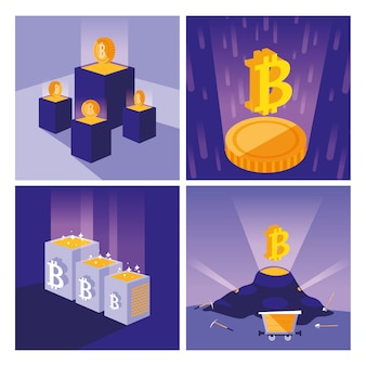 Crypto mining set di icone bitcoin