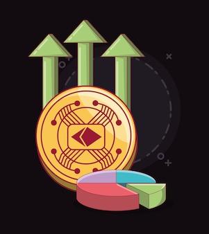 Cryptocoin e grafico a torta con frecce finanziarie