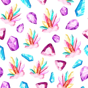 Crystal seamless pattern - cristalli colorati o gemme