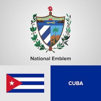 Cuba national emblem and flag