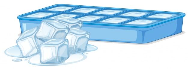 Cubetti di ghiaccio in contenitore di ghiaccio su bianco