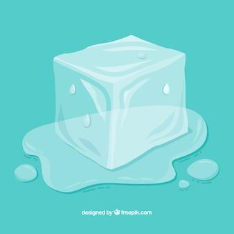 Cubetti di ghiaccio in fusione con stile disegnato a mano