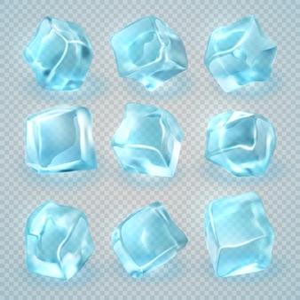 Cubetti di ghiaccio realistici 3d isolati su fondo trasparente.