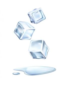 Cubetti di ghiaccio realistici di vettore con acqua sciolta