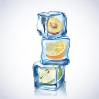 Cubetti di ghiaccio realistico con frutta all'interno su sfondo bianco