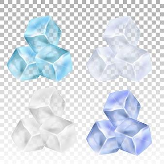 Cubetti di ghiaccio realistico su uno sfondo trasparente.