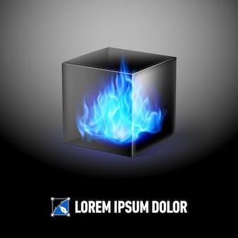 Cubo con fiamme di fuoco