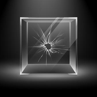 Cubo di scatola di vetro vuoto trasparente rotto crack su sfondo nero scuro con retroilluminazione