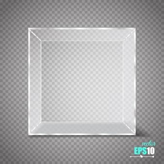 Cubo di vetro trasparente isolato su trasparente.