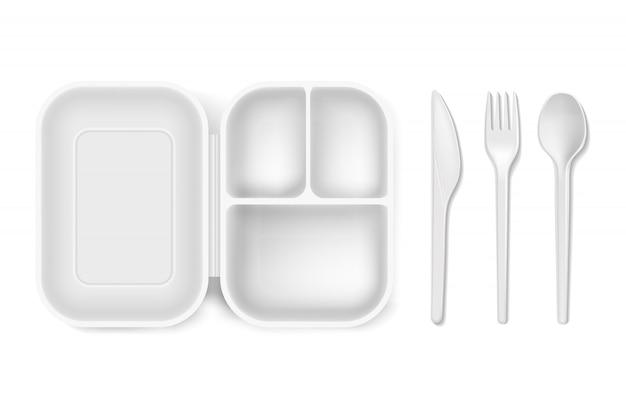 Cucchiaio di plastica monouso, forchetta o coltello e scatola da pranzo