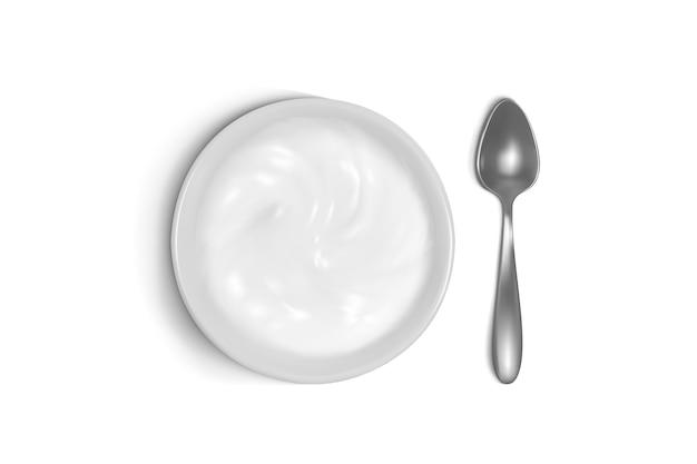 Cucchiaio e piatto illustrazione 3d di porridge, yogurt o panna acida per la colazione.