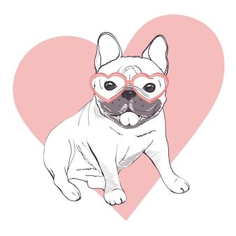 Cuccioli divertenti di bulldog francese. vector il bulldog francese divertente, il cucciolo sveglio, illustrazione di schizzo del disegno dell'animale domestico