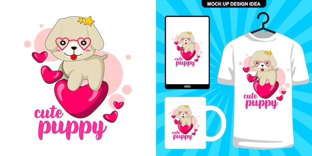 Cucciolo carino con illustrazione di cuori e merchandising