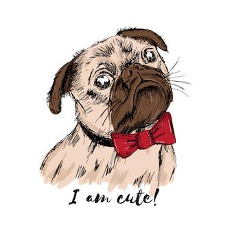 Cucciolo disegnato a mano pug con un fiocco rosso