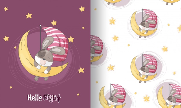 Cucciolo sveglio che sogna l'illustrazione senza cuciture del modello per i bambini