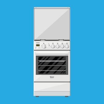 Cucina a gas o elettrica in stile piatto