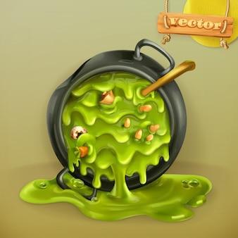 Cucina della strega. pentola con una pozione. festa di halloween