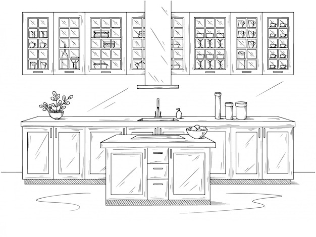 Cucina disegnata a mano. illustrazione in stile schizzo