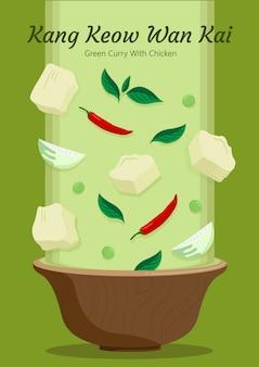 Cucina gaeng keow wan kai. drop ingredienti concetto.
