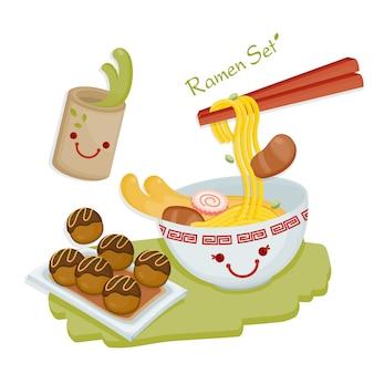 Cucina giapponese. noodles giapponesi serviti con takoyaki e tè verde.