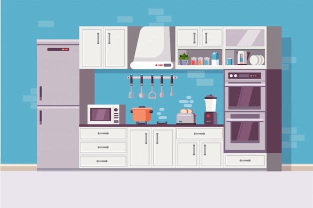 Cucina moderna accogliente interno con utensili da cucina e oggetto.